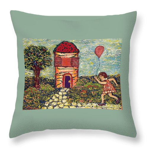 Nature Throw Pillow featuring the painting Happy In The Garden by Ioulia Sotiriou