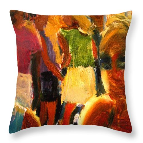 Dornberg Throw Pillow featuring the painting Happy Kids by Bob Dornberg