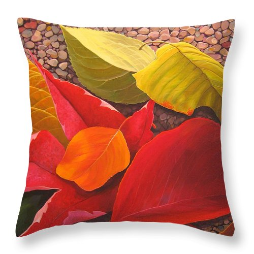 Autumn Leaves Throw Pillow featuring the painting Happy Landings by Hunter Jay