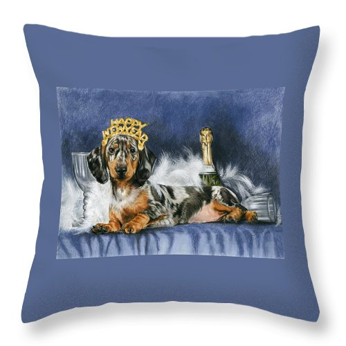 Dogs Throw Pillow featuring the mixed media Happy New Year by Barbara Keith