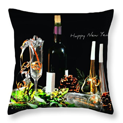 Still Life Throw Pillow featuring the photograph Happy New Year by Diana Angstadt