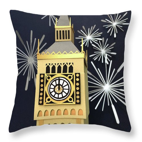 Happy New Year Throw Pillow featuring the mixed media Happy New Year by Isobel Barber