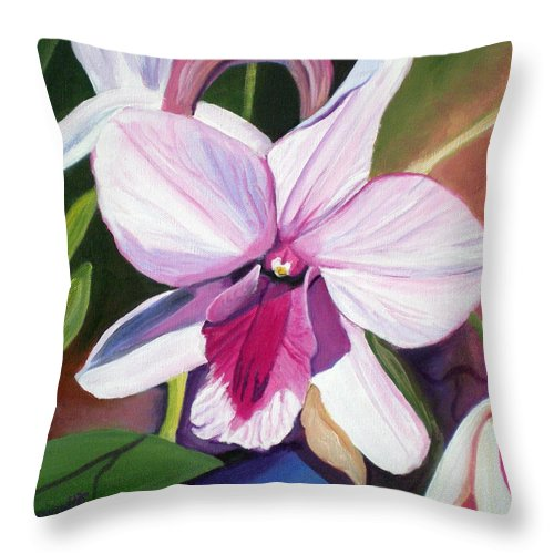 Kauai Throw Pillow featuring the painting Happy Orchid by Marionette Taboniar