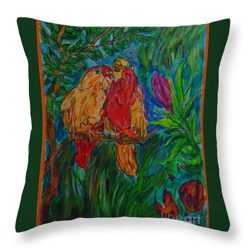 Birds Tropical Couple Pair Illustration Original Leilaatkinson Throw Pillow featuring the painting Happy Pair by Leila Atkinson