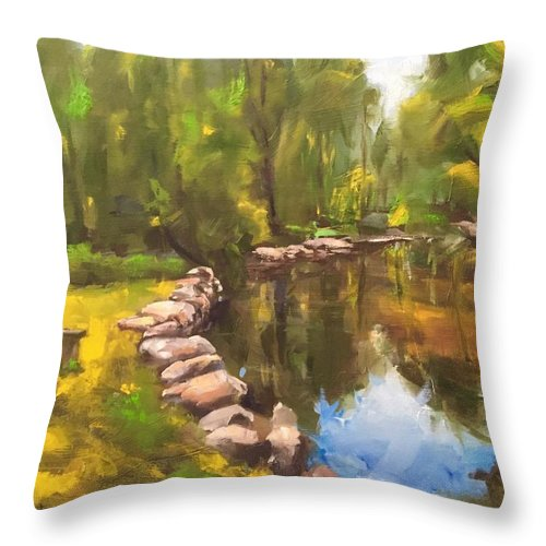 Lake Throw Pillow featuring the painting Happy Place by Gary Bruton