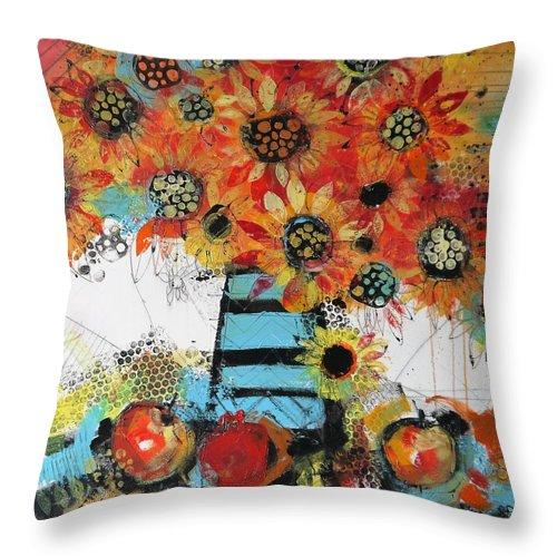 Flowers Throw Pillow featuring the painting Happy Season 2 by Irina Rumyantseva