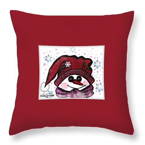 Happy Snowmen Throw Pillow featuring the mixed media Happy Snowmen by MaryLee Parker
