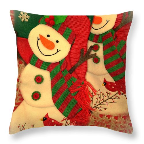 Throw Pillow featuring the photograph Happy Snowmen by Miriam Marrero