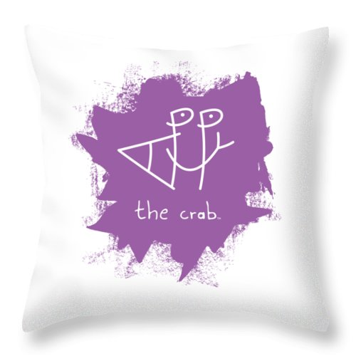 Happy Throw Pillow featuring the mixed media Happy The Crab - Purple by Chris N Rohrbach