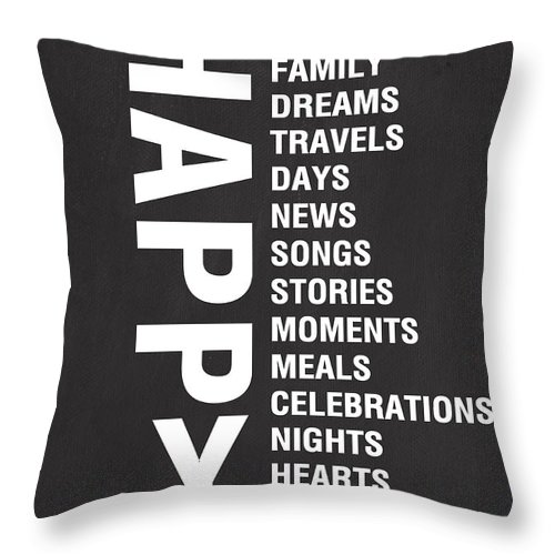 Typography Throw Pillow featuring the mixed media Happy Things by Linda Woods
