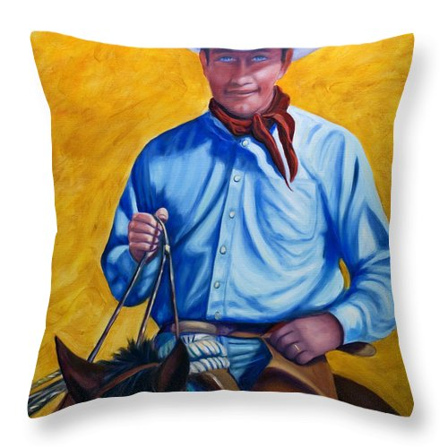 Cowboy Throw Pillow featuring the painting Happy Trails by Shannon Grissom