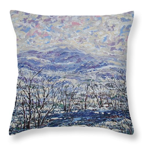 Landscape Throw Pillow featuring the painting Happy Winter. by Leonard Holland
