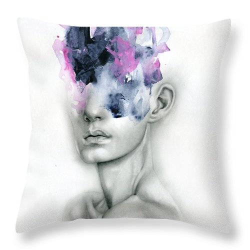 Portrait Throw Pillow featuring the painting Harbinger by Patricia Ariel