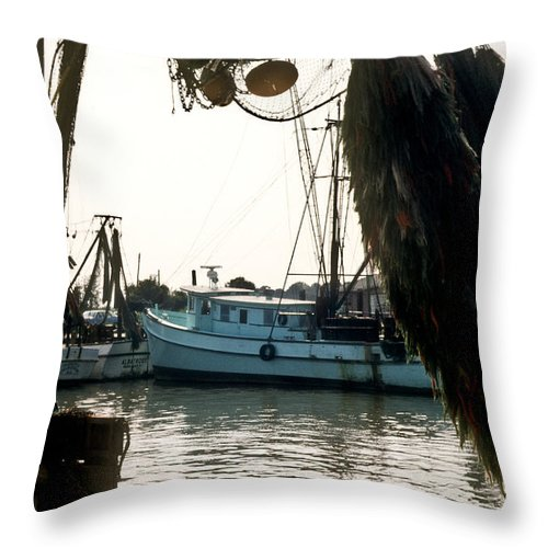 Harbor Throw Pillow featuring the photograph Harbor Boats by Douglas Barnett
