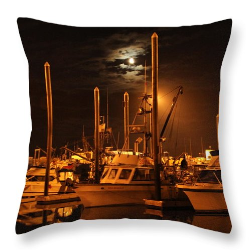 Boat Throw Pillow featuring the photograph Harbor Moon by Rick Monyahan