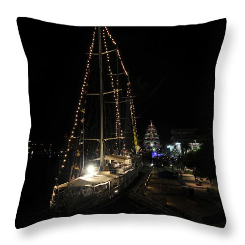 Tampa Bay Florida Throw Pillow featuring the photograph Harbor Night by David Lee Thompson
