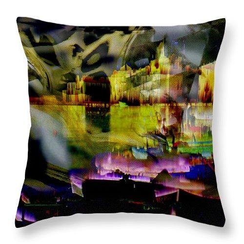 European Throw Pillow featuring the digital art Harbor Scene Through A Vodka Bottle by Seth Weaver