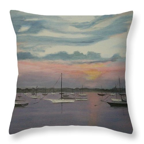 Harbor Throw Pillow featuring the painting Harbor Twilight by Nancy Nuce
