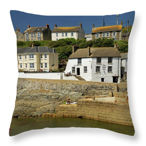 Britain Throw Pillow featuring the photograph Harbourside Buildings - Porthleven by Rod Johnson