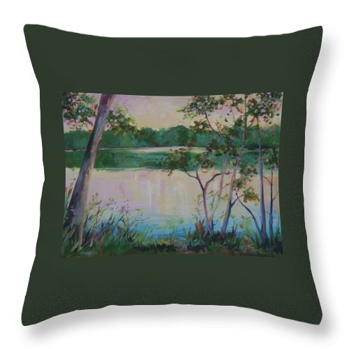 Lakes Throw Pillow featuring the painting Hard Labor Creek by Ginger Concepcion