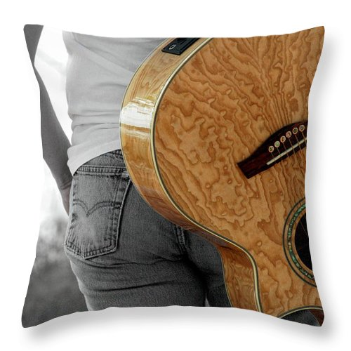 Guitar Throw Pillow featuring the photograph Hard Luck by Elizabeth Hart