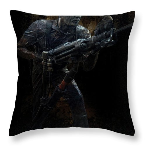 Miner Throw Pillow featuring the photograph Hard Rock Mining Man by Daniel Hagerman