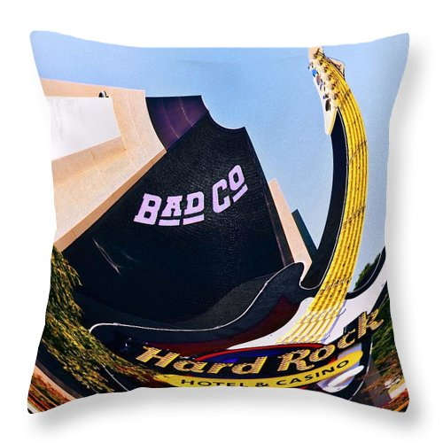 Hard Rock Casino Throw Pillow featuring the photograph Hard Rock Tower by Terry Anderson
