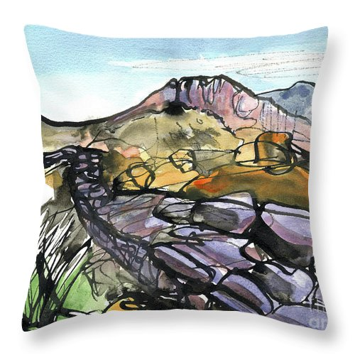 Hardknott Roman Fort - English Lake District - Watercolour Painting - Mountain Scenery - Landscape Painting -elizabethafox Throw Pillow featuring the painting Hardknott Roman Fort by Elizabetha Fox