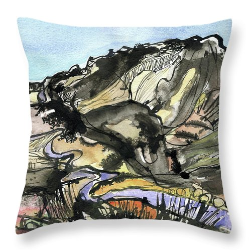 Hardknott Summit Road - English Lake District - Watercolour Painting - Mountain Scenery - Landscape Painting -elizabethafox Throw Pillow featuring the painting Hardknott Summit Road by Elizabetha Fox