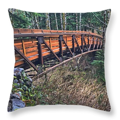 Hamilton Mountain Throw Pillow featuring the photograph Hardy Creek Bridge by Mark Miskiewicz