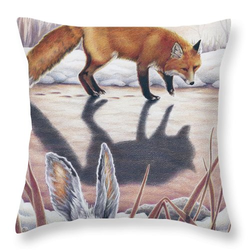 Fox Throw Pillow featuring the drawing Hare Stands On End by Amy S Turner