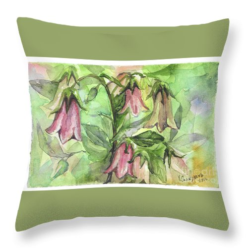 Harebell Throw Pillow featuring the painting Harebell by Yana Sadykova