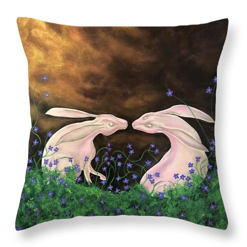 Rabbits Throw Pillow featuring the painting Hares At Dawn by Ron Tango Jr