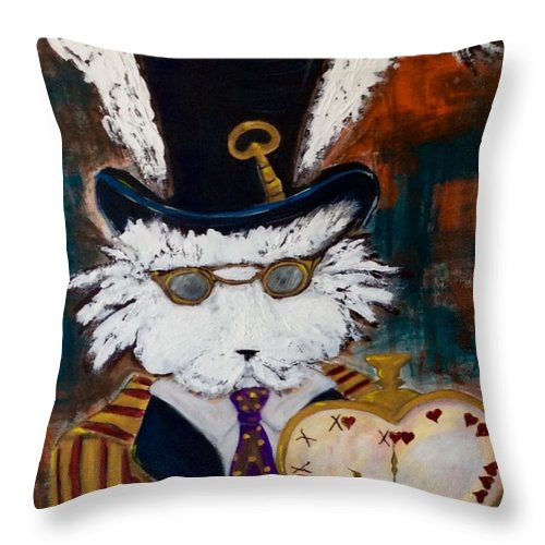 Rabbit Throw Pillow featuring the painting Harey Gentleman by Mary Papageorgiou