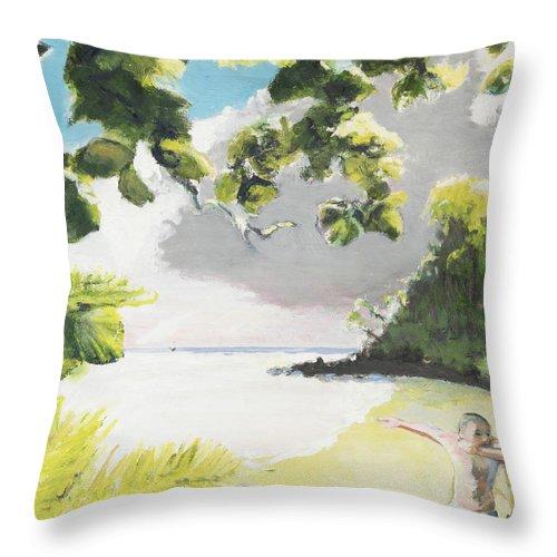 Hawaii Throw Pillow featuring the painting Hark Hawaii by Craig Newland