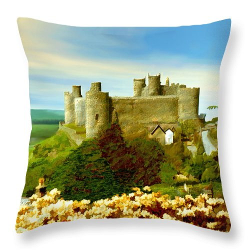 Castles Throw Pillow featuring the photograph Harlech Castle by Kurt Van Wagner