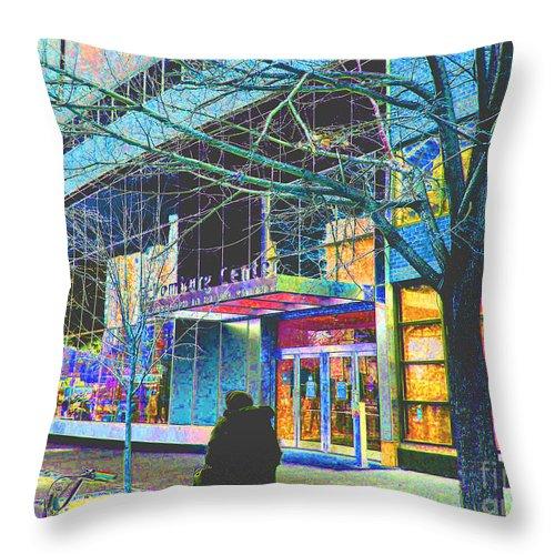 Harlem Throw Pillow featuring the photograph Harlem Street Scene by Steven Huszar