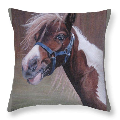 Horse Throw Pillow featuring the painting Harlequin by Elizabeth Bard