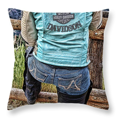 People Throw Pillow featuring the photograph Harley Chick by Samantha Burrow