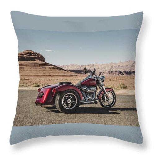Harley-davidson Freewheeler Throw Pillow featuring the digital art Harley-Davidson Freewheeler by Super Lovely