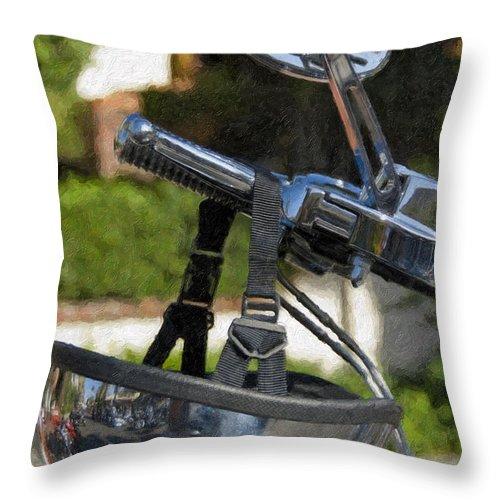 Helmet Throw Pillow featuring the photograph Harley Davidson Helmet And Handlebar Controls Switches by David Zanzinger