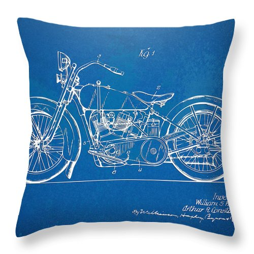 Harley-davidson Throw Pillow featuring the digital art Harley-davidson Motorcycle 1928 Patent Artwork by Nikki Marie Smith