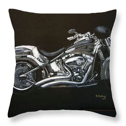 Harley Davidson Throw Pillow featuring the painting Harley Davidson by Richard Le Page
