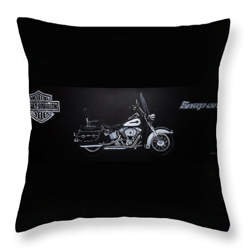 Bike Throw Pillow featuring the painting Harley Davidson Snap-on by Richard Le Page