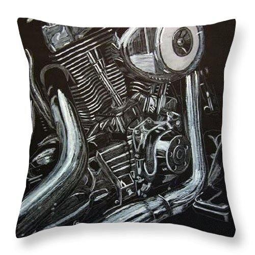 Engine Throw Pillow featuring the painting Harley Engine by Richard Le Page