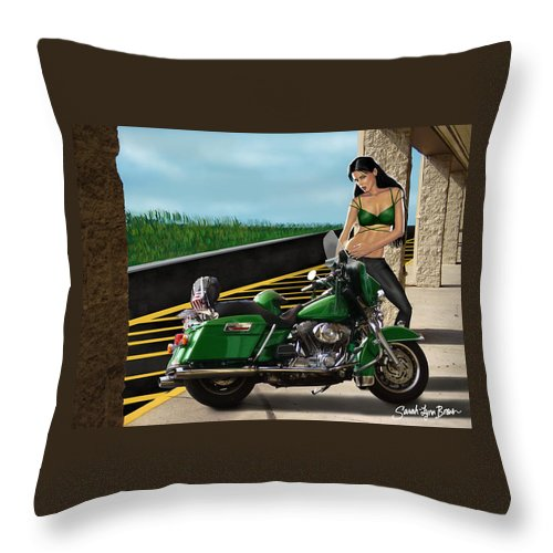 Motorcycle Throw Pillow featuring the digital art Harley Girl by Sarah-Lynn Brown