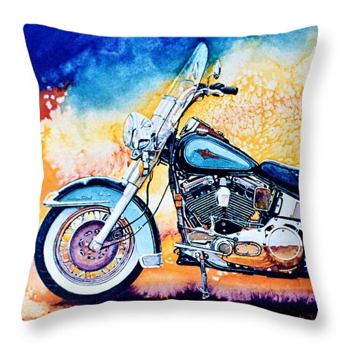 Heritage Softail Throw Pillow featuring the painting Harley Hog I by Hanne Lore Koehler