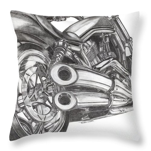 Harley Davidson Throw Pillow featuring the drawing Harley by Kristen Wesch