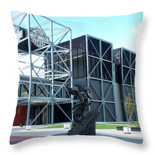 Architechture Throw Pillow featuring the photograph Harley Museum And Statue by Anita Burgermeister