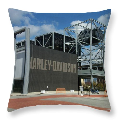 Throw Pillow featuring the photograph Harley Museum by Anita Burgermeister
